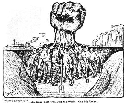 Cartoon published in the Industrial Workers of the World (IWW) journal Solidarity on June 30, 1917.  License: Public Domain